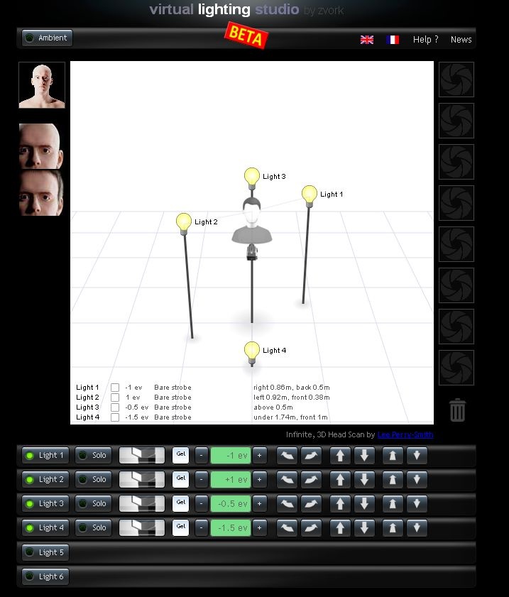 Ansicht des Virtuell Lighting Studios Beta Version