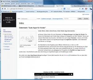 Screenshot der Seite www.gute-apps-fuer-kinder.de