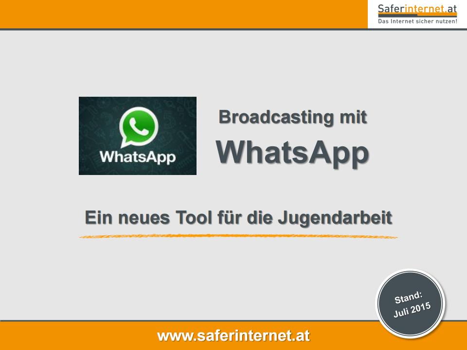 Arbeitshilfen screesnshot: Broadcasten mit Whatsapp - Ein Tool für die Jugendarbeit