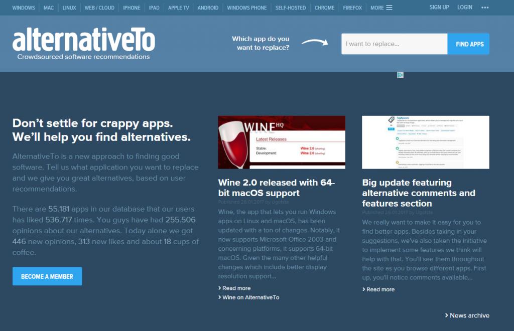 Screenshot Seite alternativeto.net