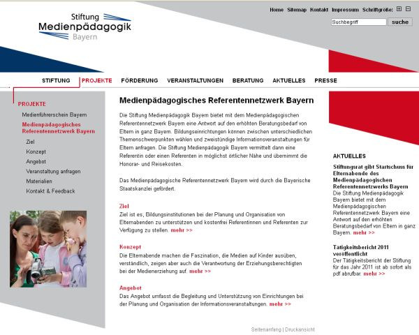 Screenshot Stiftungsseite