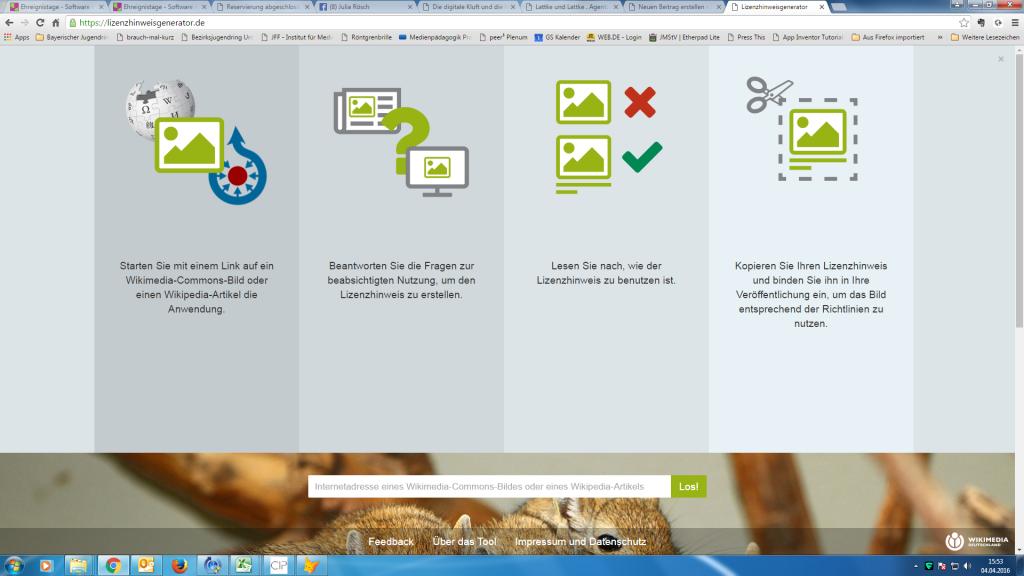 Screenshot der Seite lizenzhinweisgenerator.de